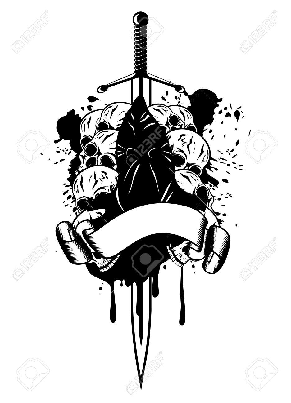 Vector illustration executioner and skull Stock Vector - 14605248