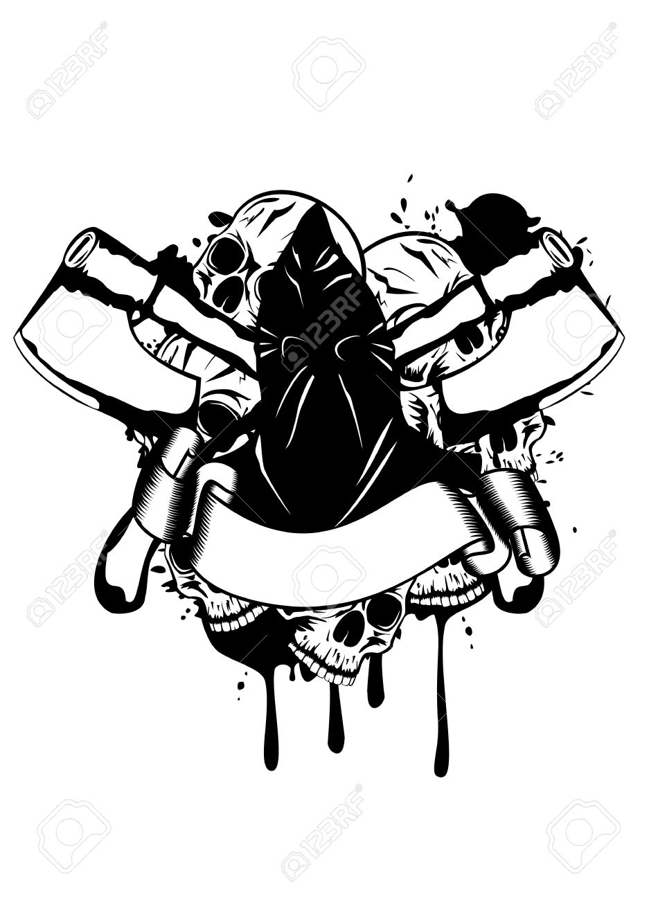Vector illustration executioner and skull Stock Vector - 14605244