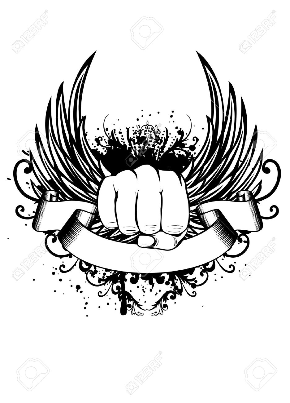 Shirt design pictures - Vector Vector Illustration T Shirt Design Fist And Wings