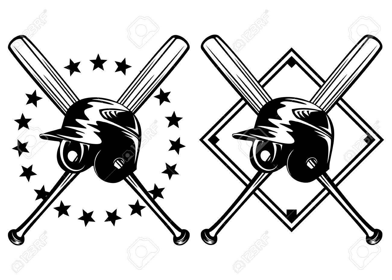 Illustration Baseball Helmet And Crossed Bats Set Royalty Free ...