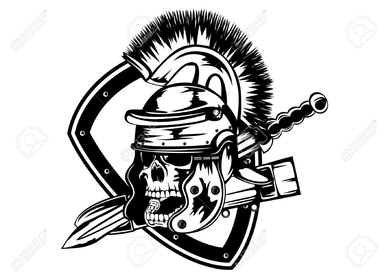illustration skull in legionary helmet and sword royalty free