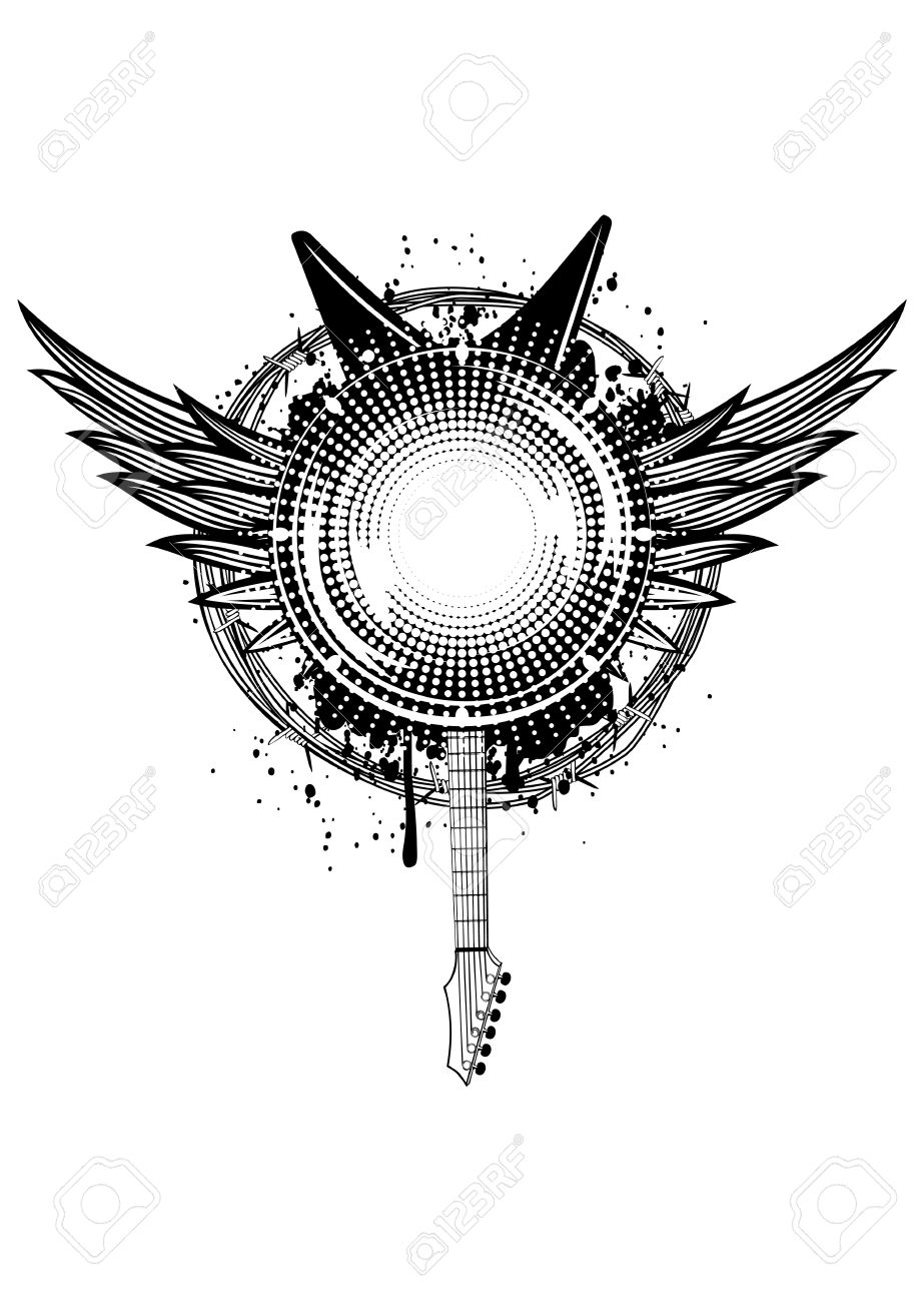 Vector  illustration wings, guitars and barbed wire Stock Vector - 18572819