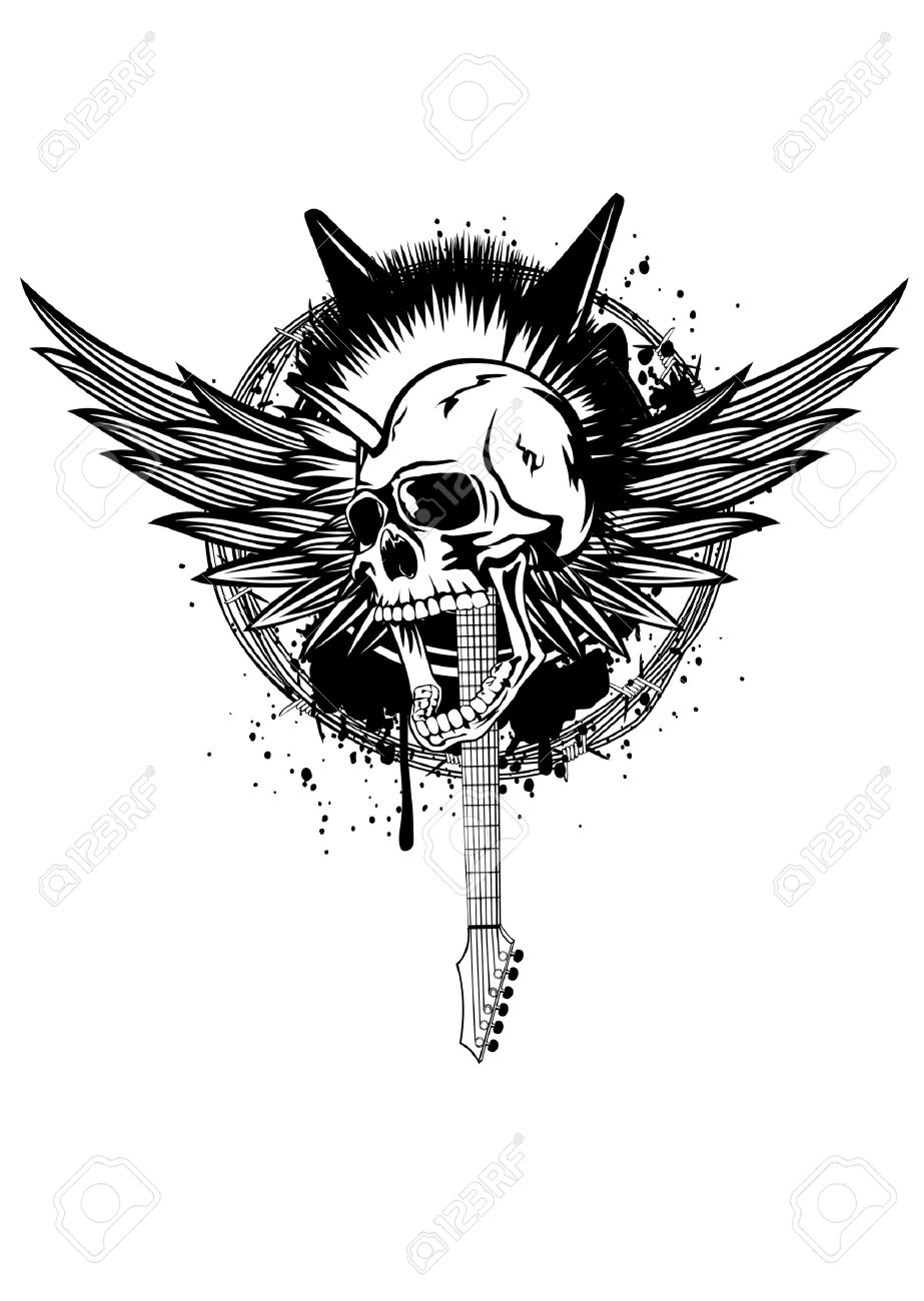 Illustration Skull Punk With Wings, Guitars And Barbed Wire Royalty ...