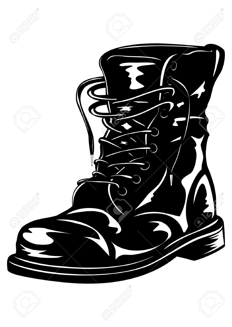 Vector illustration black leather army boot