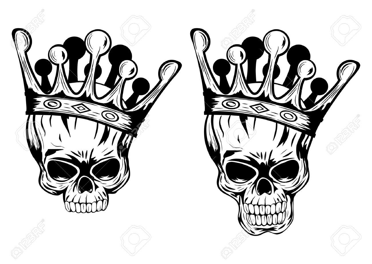 Crown: Vector Illustration Skulls With Crowns Illustration