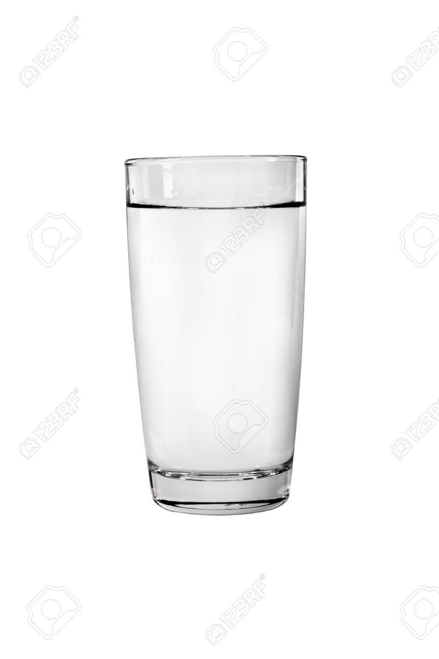 7b59b708b26 Glass filled with water isolated on a white background isolated on white  background Stock Photo -
