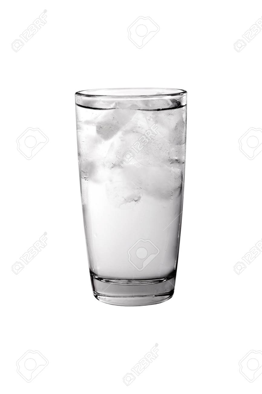 949bacef31b Glass filled with water and ice isolated on white background Stock Photo -  21894903