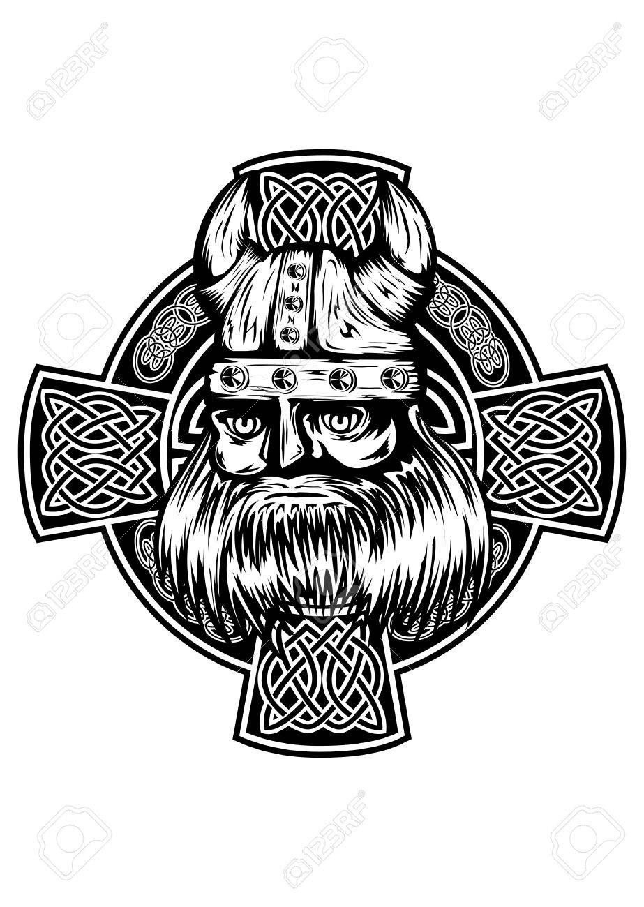 Ilustración Vectorial Viking Y La Cruz Celta Ilustraciones ...