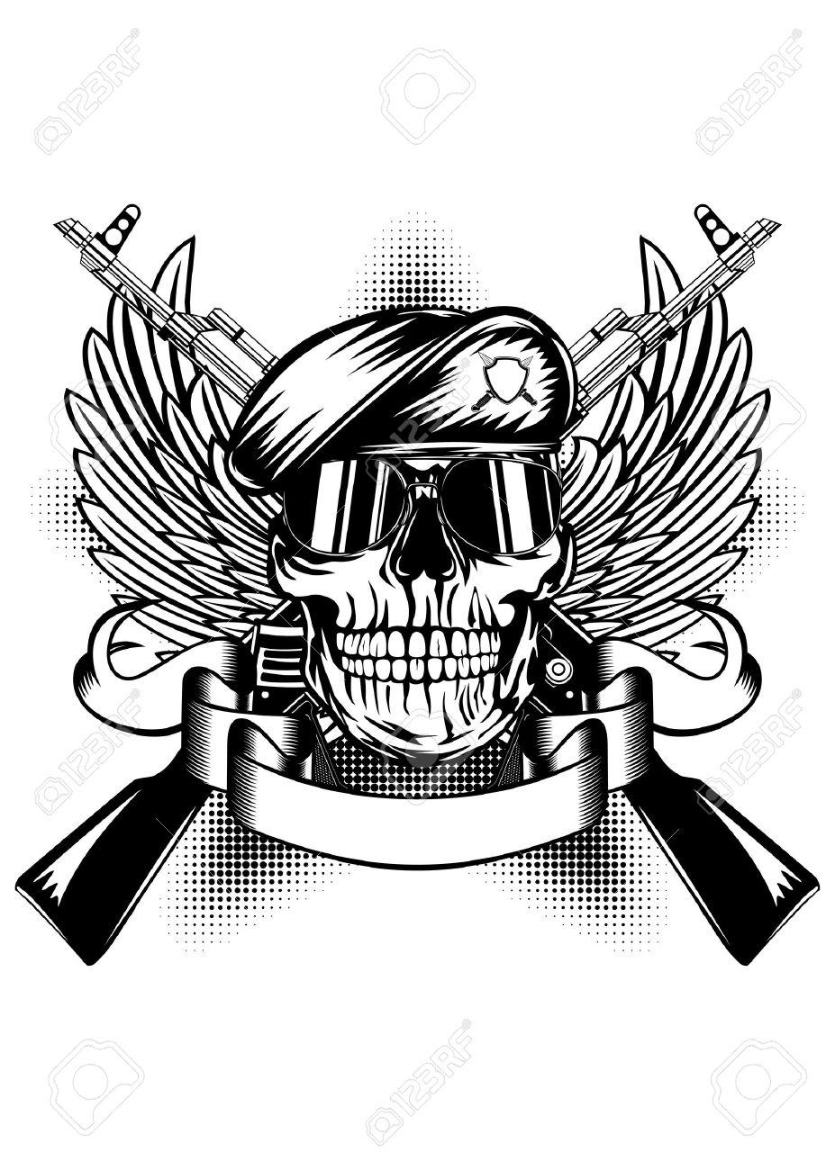 Ilustración Vectorial Dos Armas De Fuego Las Alas Y El Cráneo En