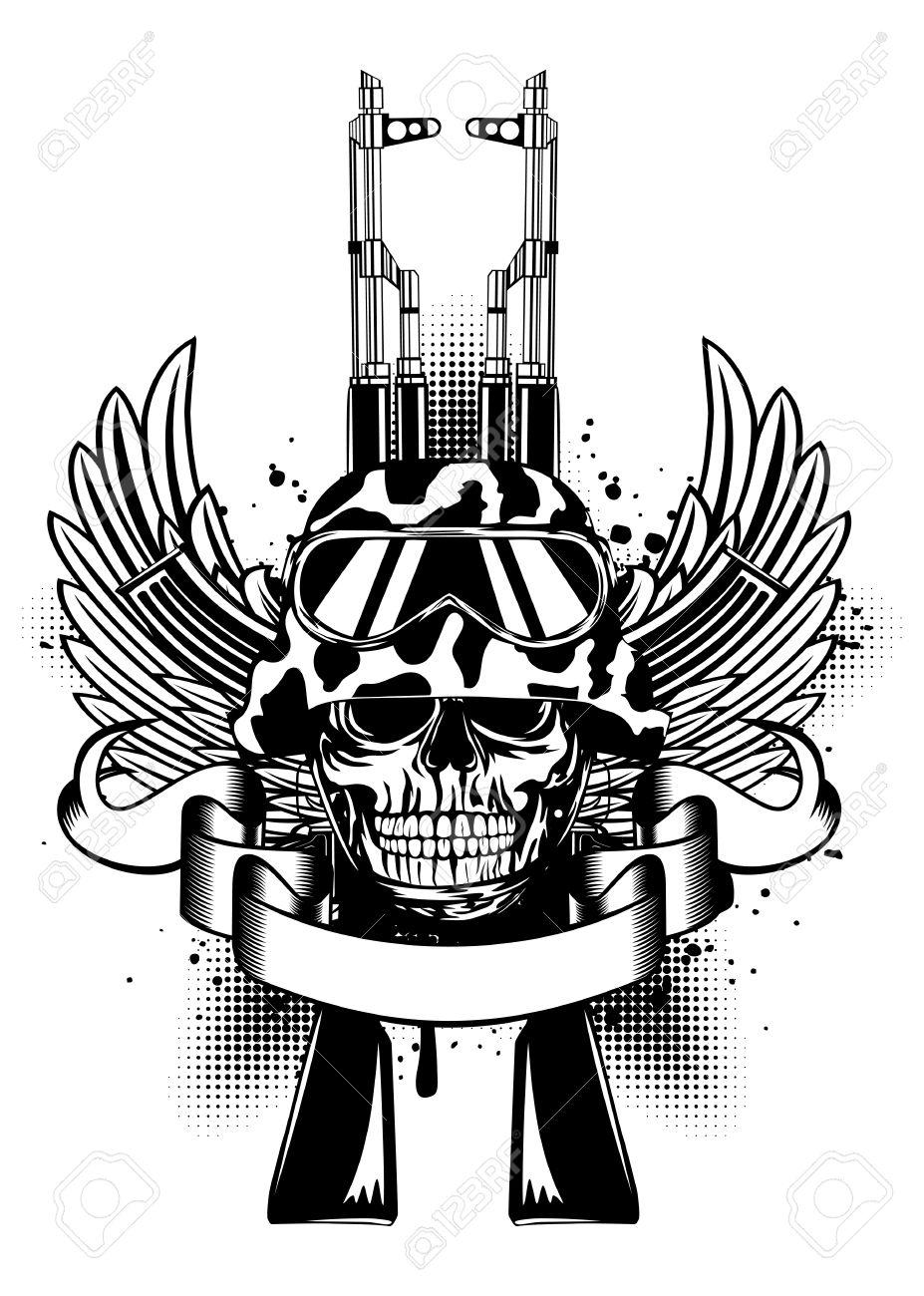 Ilustración Vectorial Dos Armas Kalashnikov Las Alas Y El Cráneo En