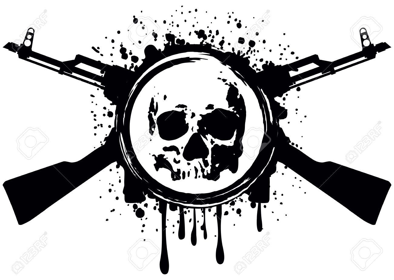 Abstract vector illustration crossed automatic rifles and skull - 36043175