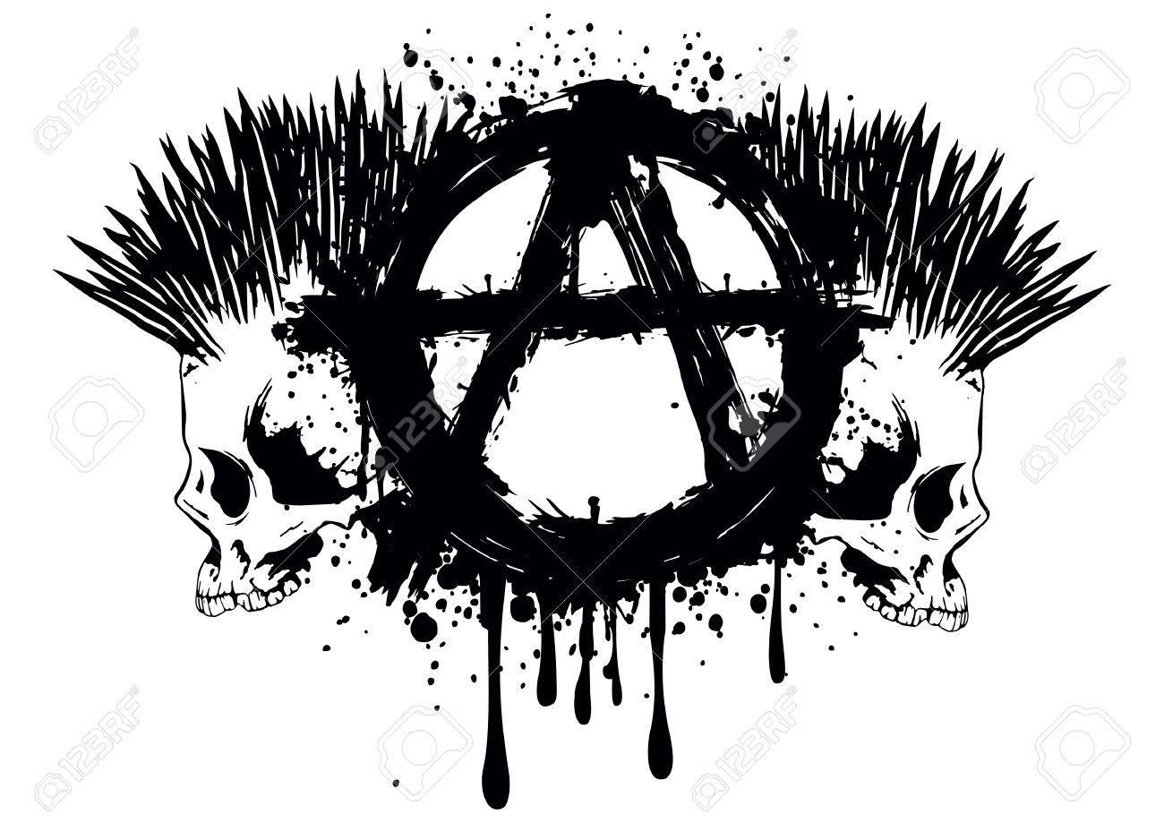 T Shirt Tattoo Design | Illustration Symbol Anarchie Und Zwei Punks Schadel Fur T Shirt Oder