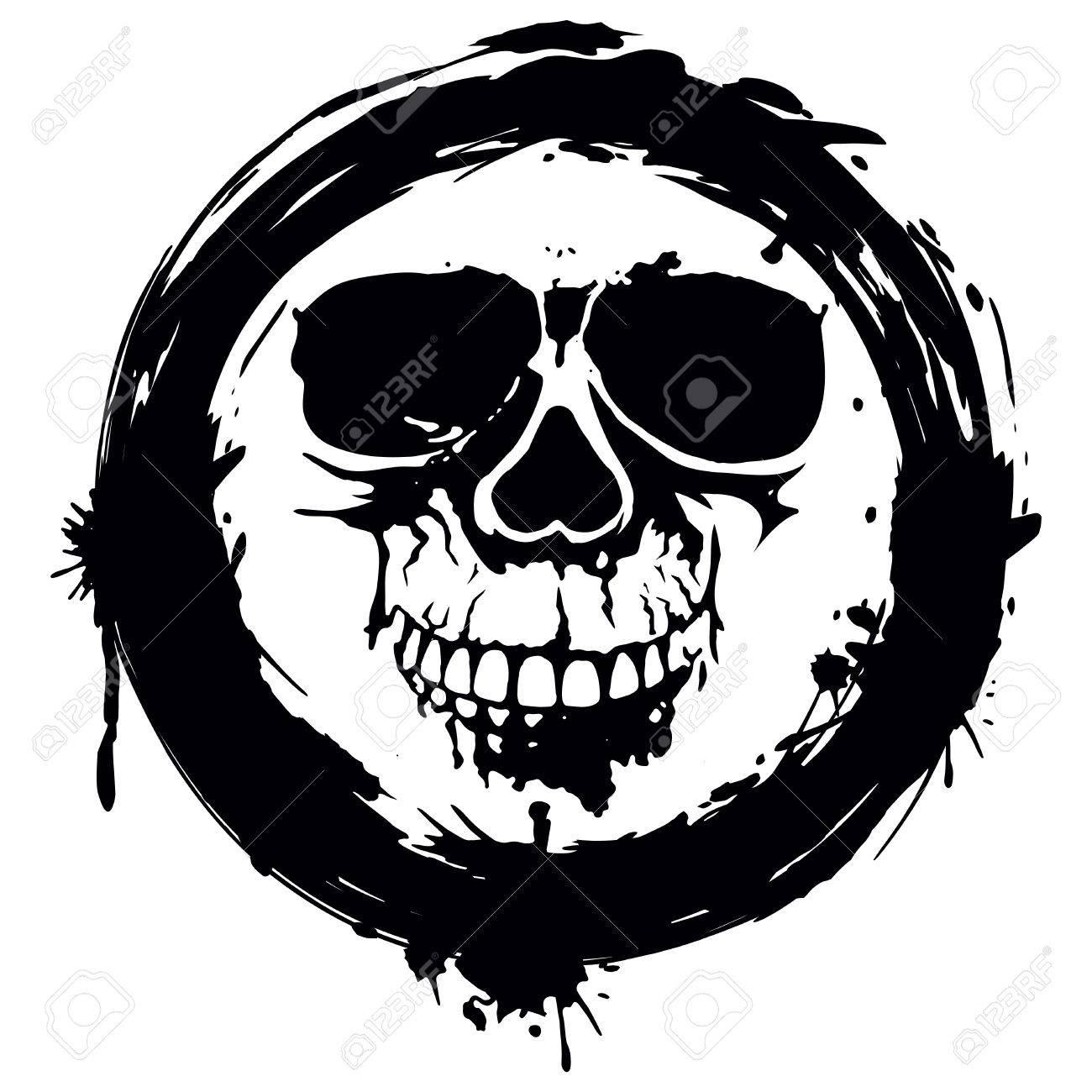 Illustration Grunge Skull In Frame For Tattoo Or T-shirt Design ...