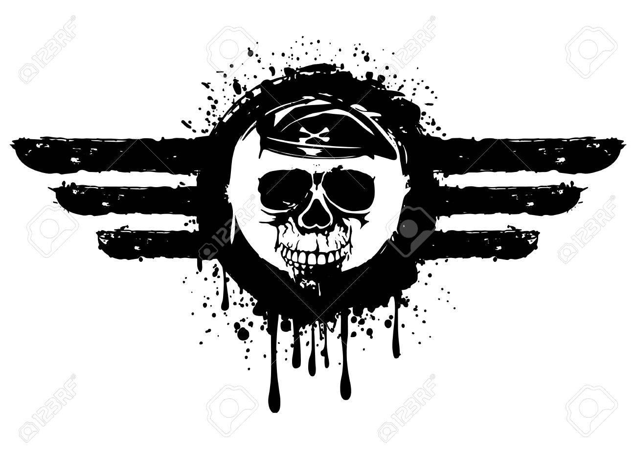 Ilustración Del Cráneo Del Grunge En El Marco Ilustraciones ...