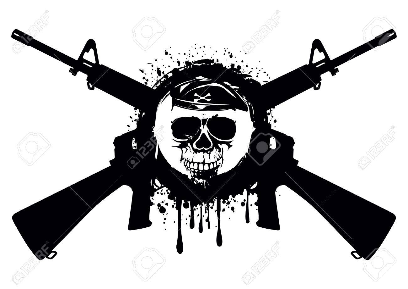 Abstract illustration crossed automatic rifles and skull in beret for t-shirt design and tattoo - 60324409