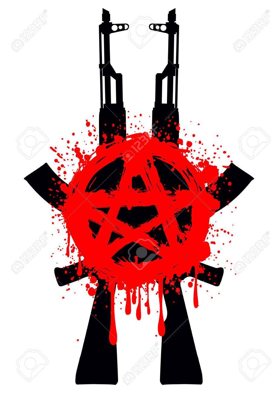 図 2 ak 47 とシンボル赤いタトゥーや t シャツ デザインの星