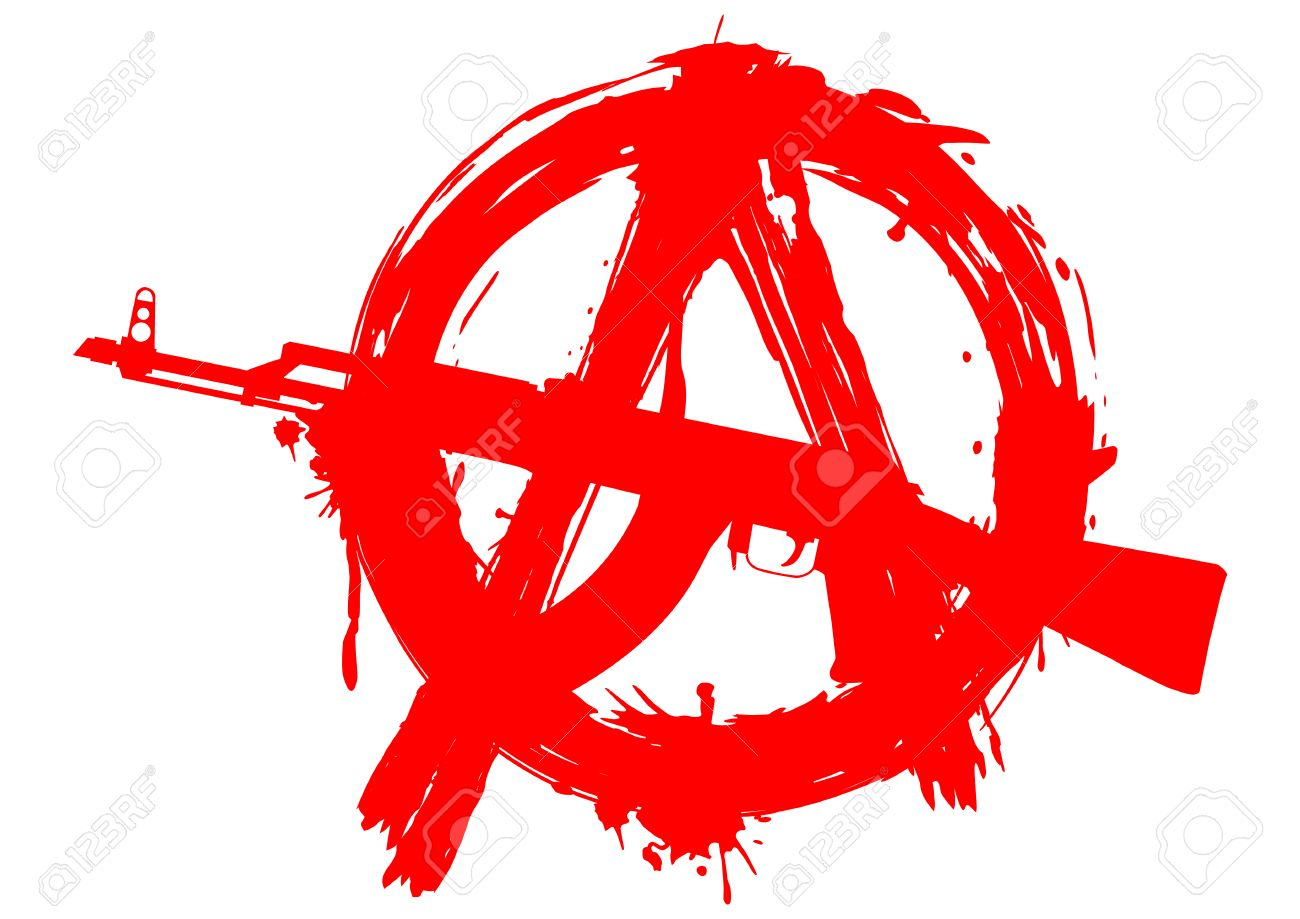 illustration symbol anarchy with ak 47 for design tattoo or