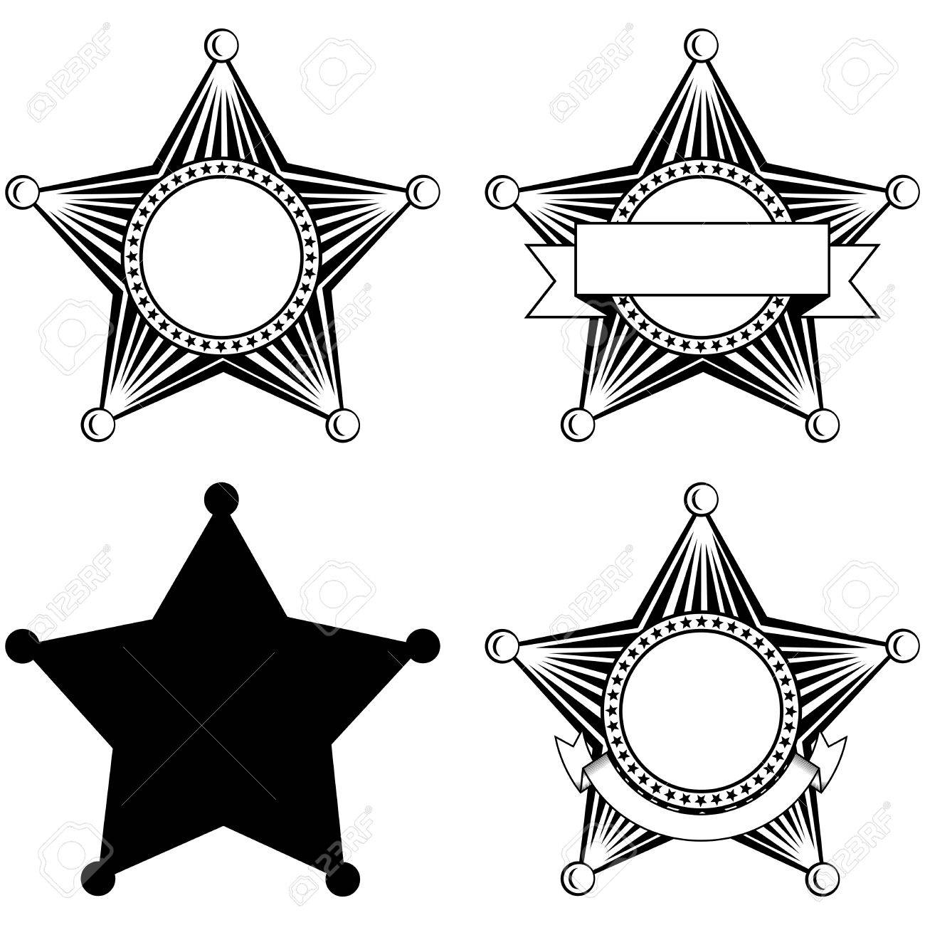 Illustration Five Pointed Sheriffs Star Set Royalty Free Cliparts ...