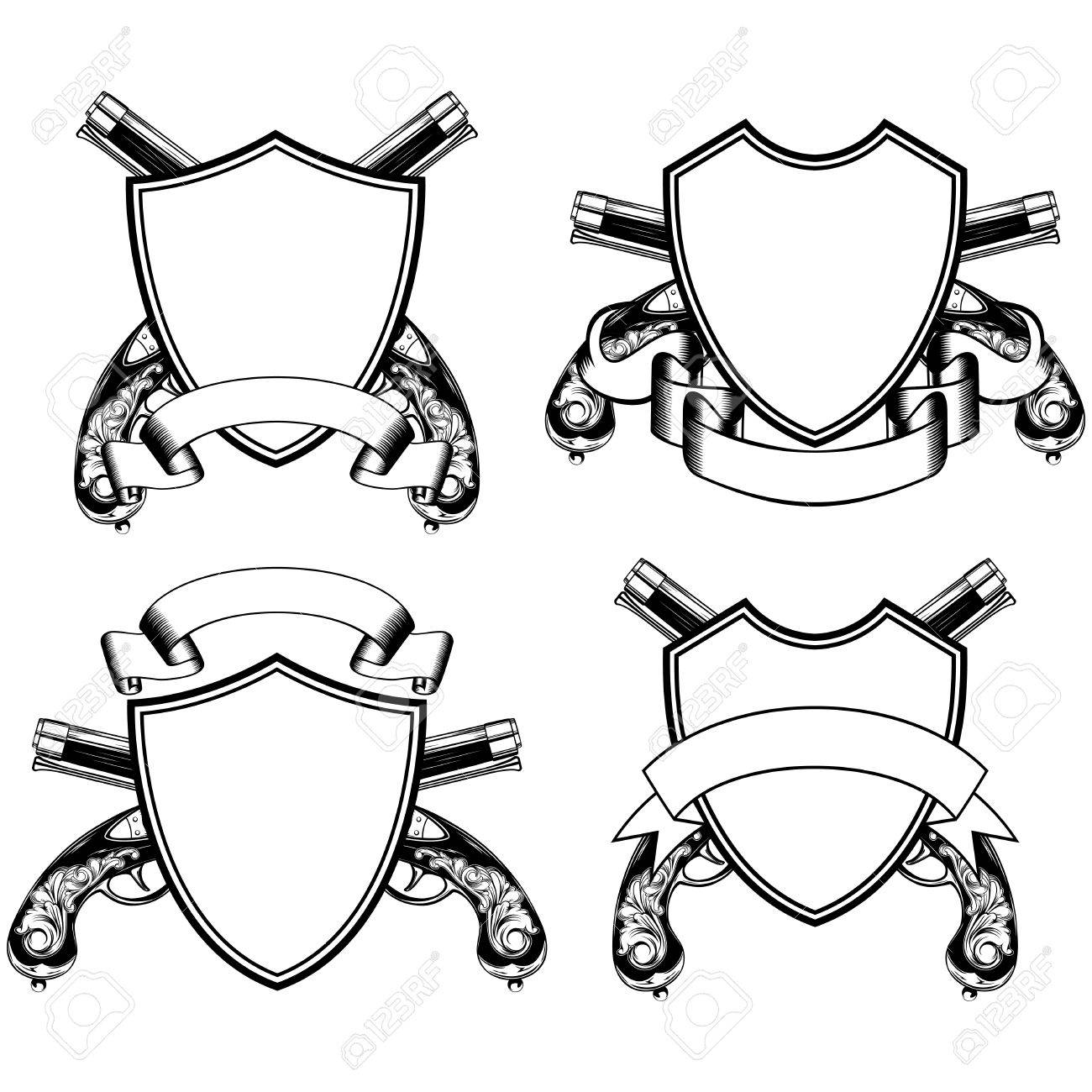 vector illustration crossed old flintlock pistols and shield Flintlock Longrifle vector vector illustration crossed old flintlock pistols and shield with ribbon