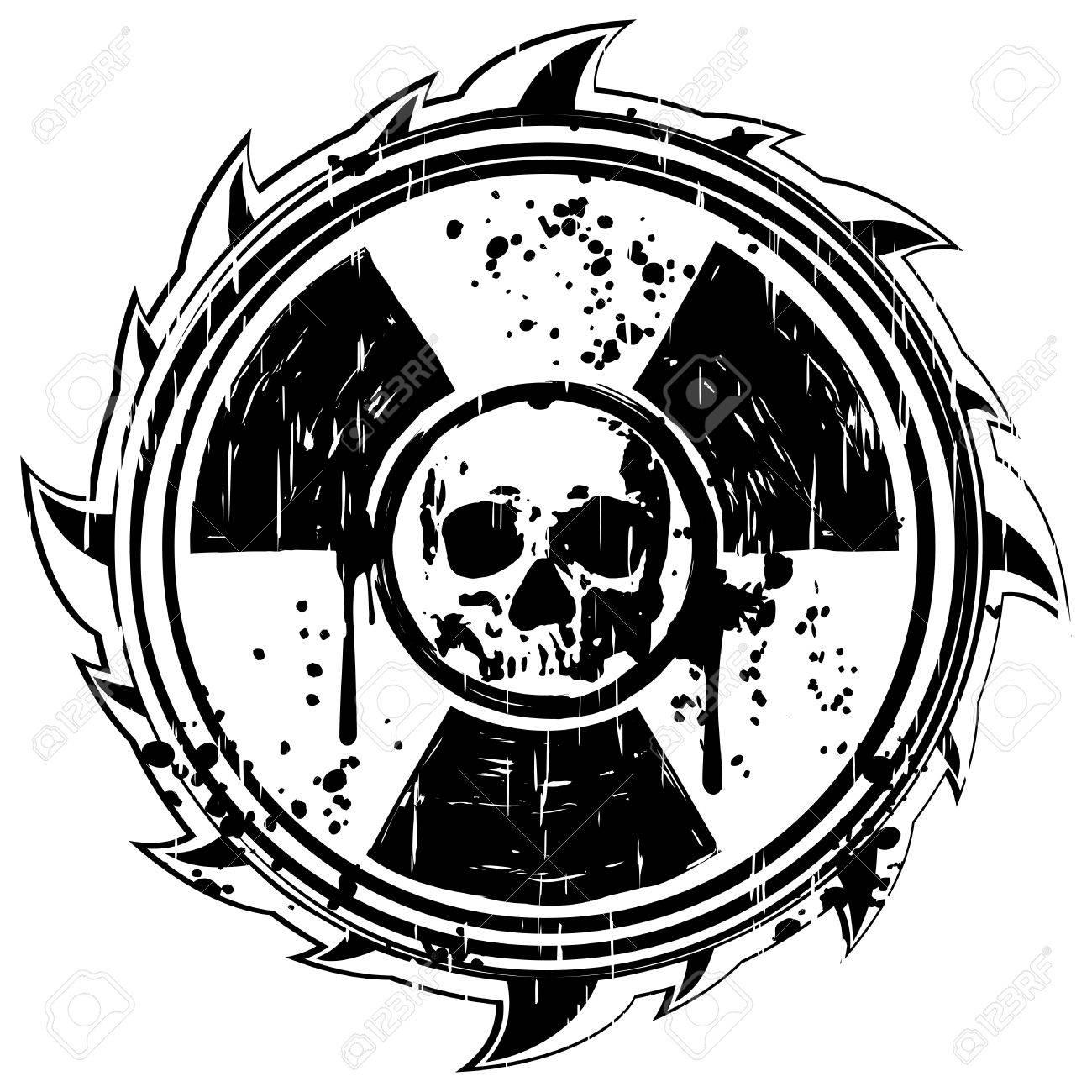abstract vector illustration grunge frame black skull and symbol Radioactive Water abstract vector illustration grunge frame black skull and symbol radiation stock vector 71453540