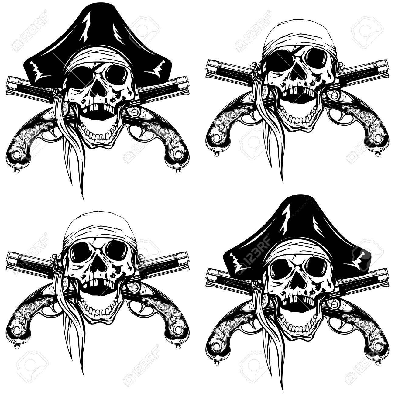 Pañuelo Pirata Ilustración Vectorial Cráneo O Sombrero De Tres Picos ...