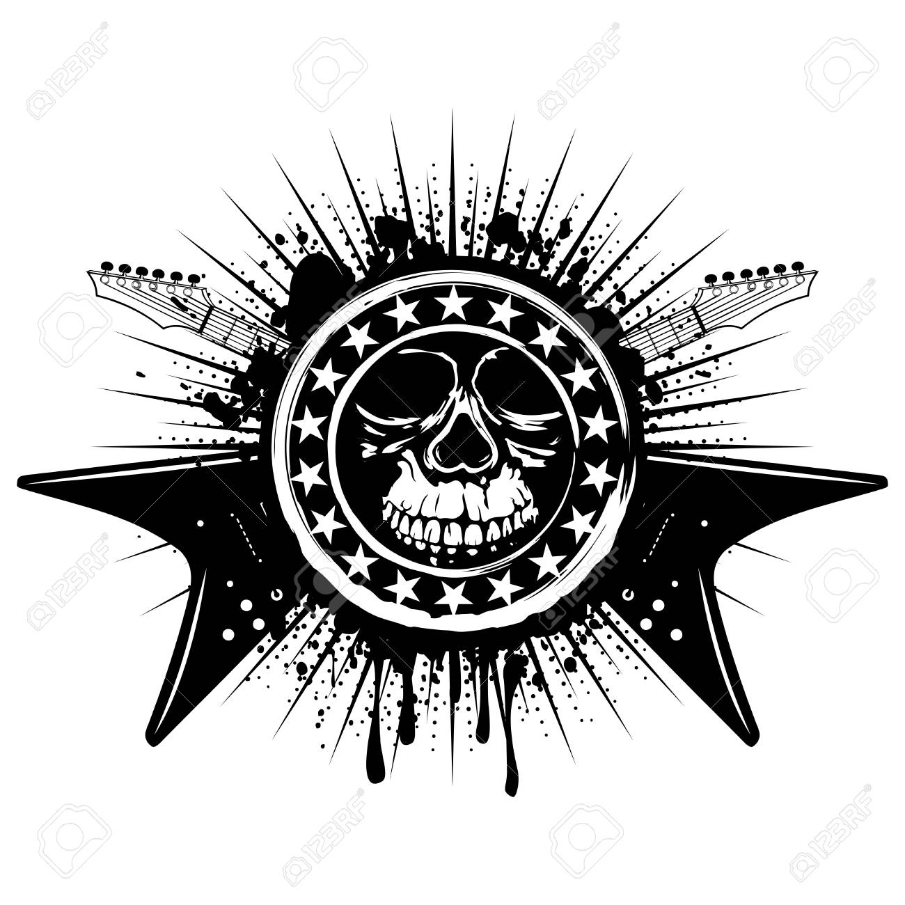 Vector Illustration Grunge Skull Stamp With Stars And Crossed
