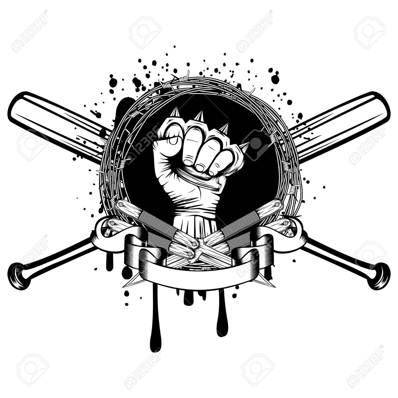 Vector Illustration Two Crossed Daggers And Baseball Bats. Frame ...