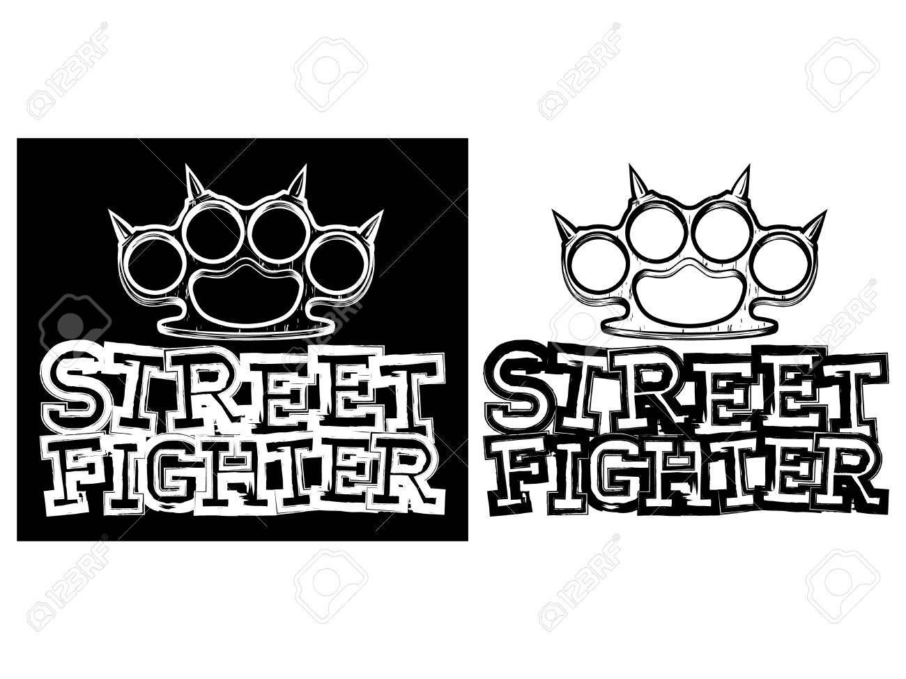 Vector Illustration Brass Knuckle Inscription Street Fighter