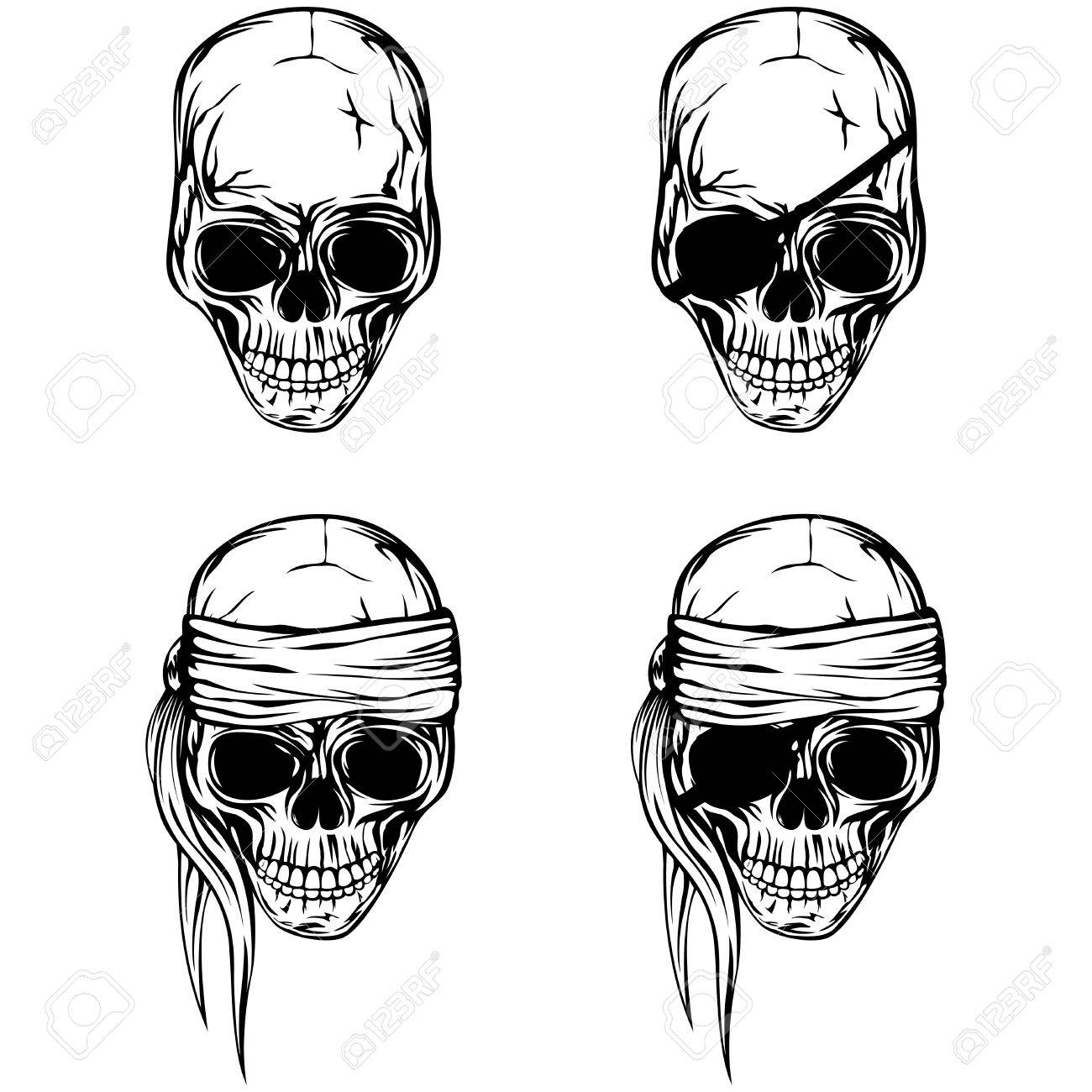 vector illustration pirate skull set skull with a bandage on