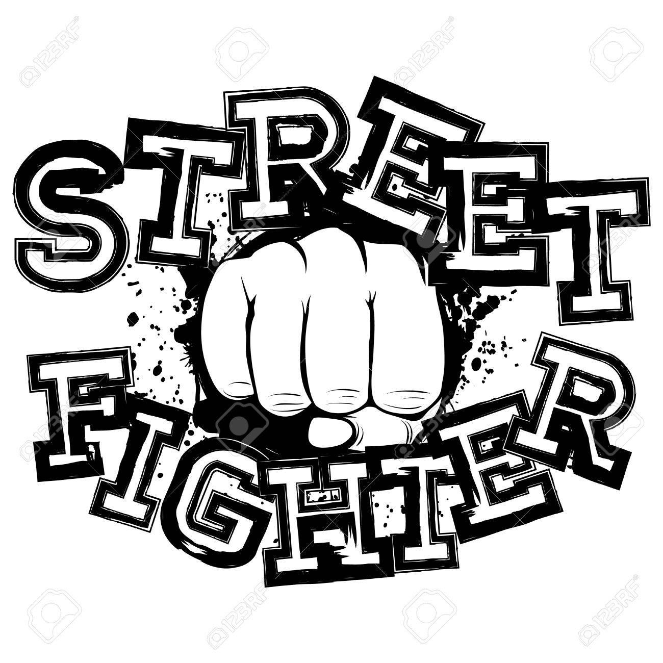 Vector Illustration Fist On Grunge Background Inscription Street