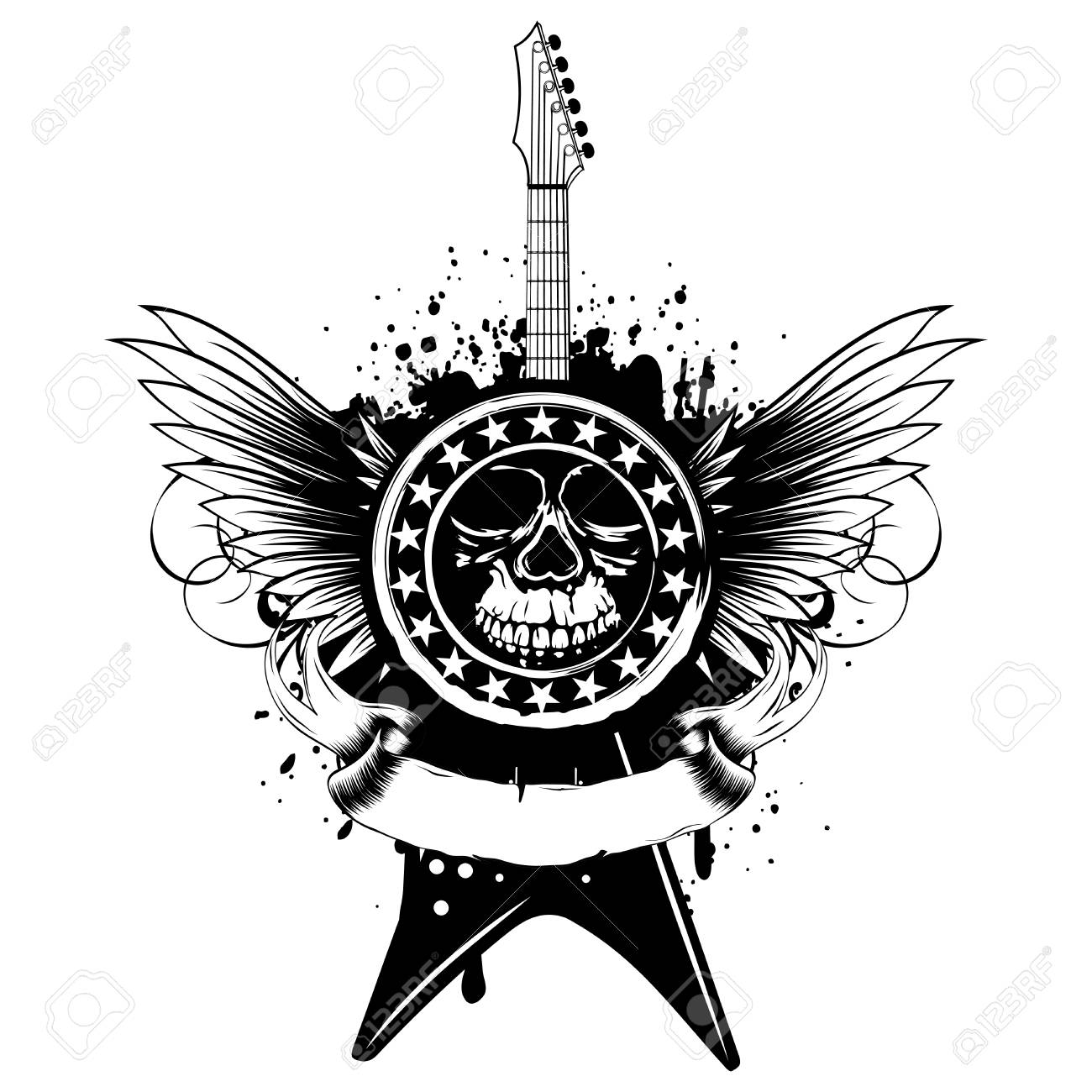 Vector Illustration Stamp With Skull And Electric Guitar On