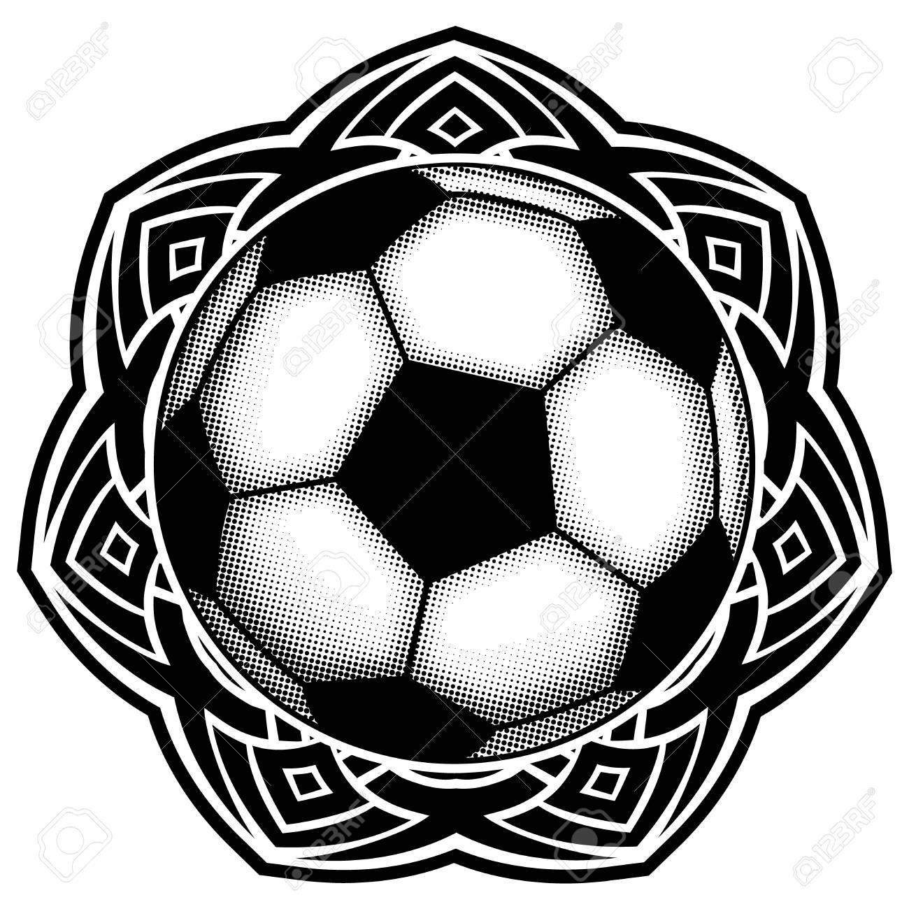 Ilustración Vectorial Abstracta Balón De Fútbol Blanco Y Negro