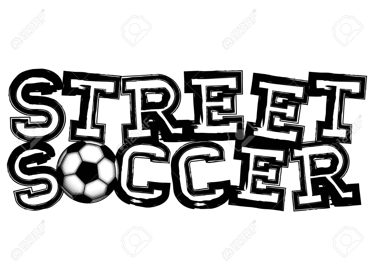 Black Inscription Street Soccer With Football Ball Design For