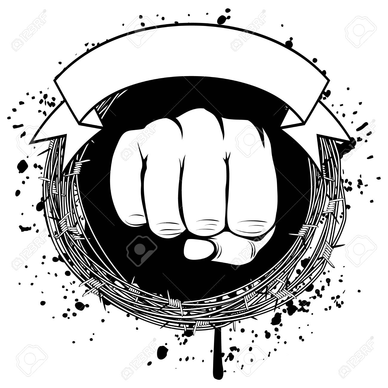 Vector Illustration Barbed Wire And Fist. For Tattoo Or T-shirt ...