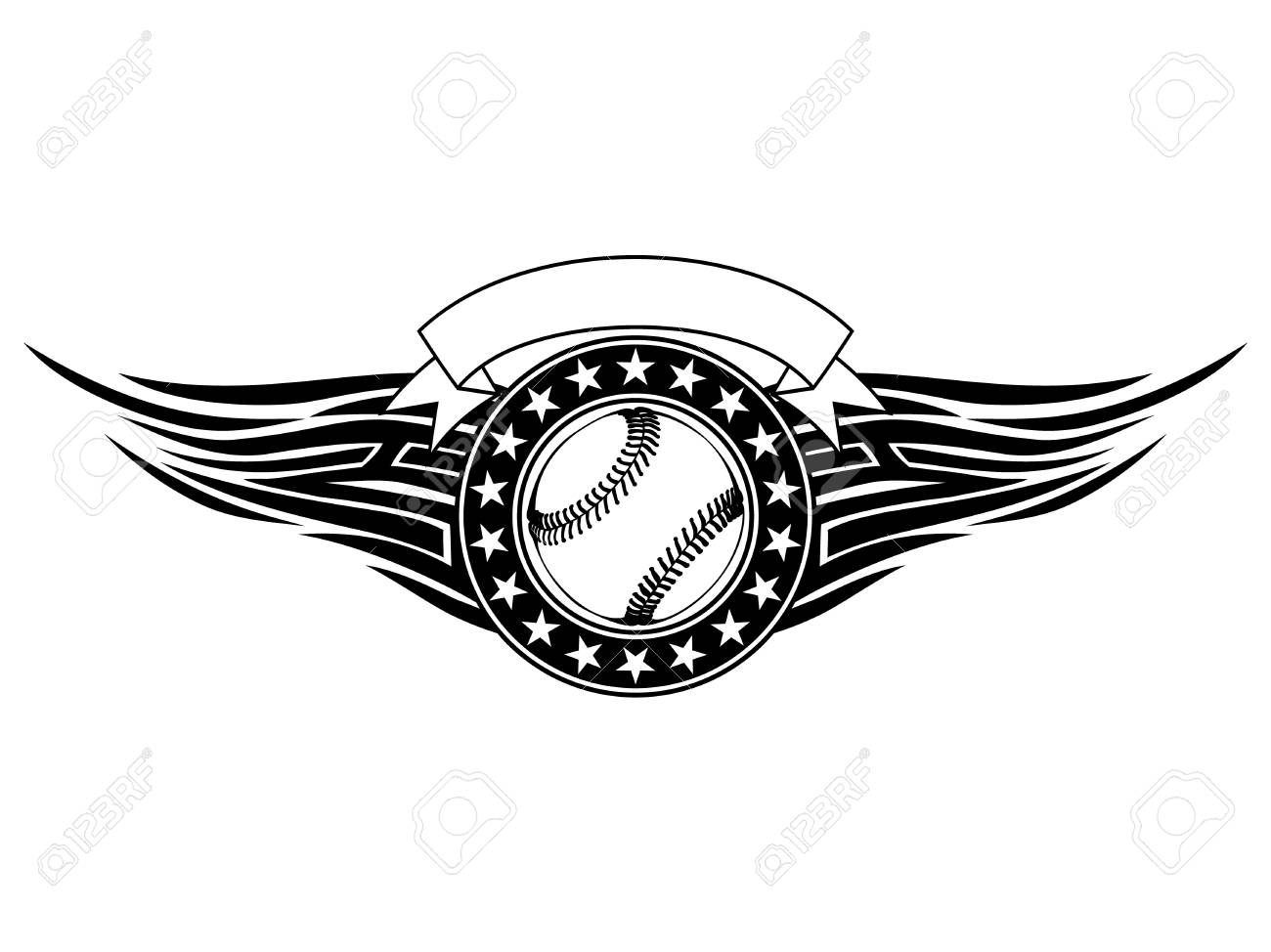617585c3 Abstract vector illustration black and white baseball ball with tribal  wings. Design for tattoo or