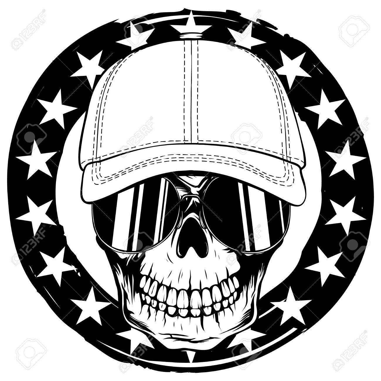 Ilustración Vectorial Abstracta Cráneo Blanco Y Negro En Gafas De ...
