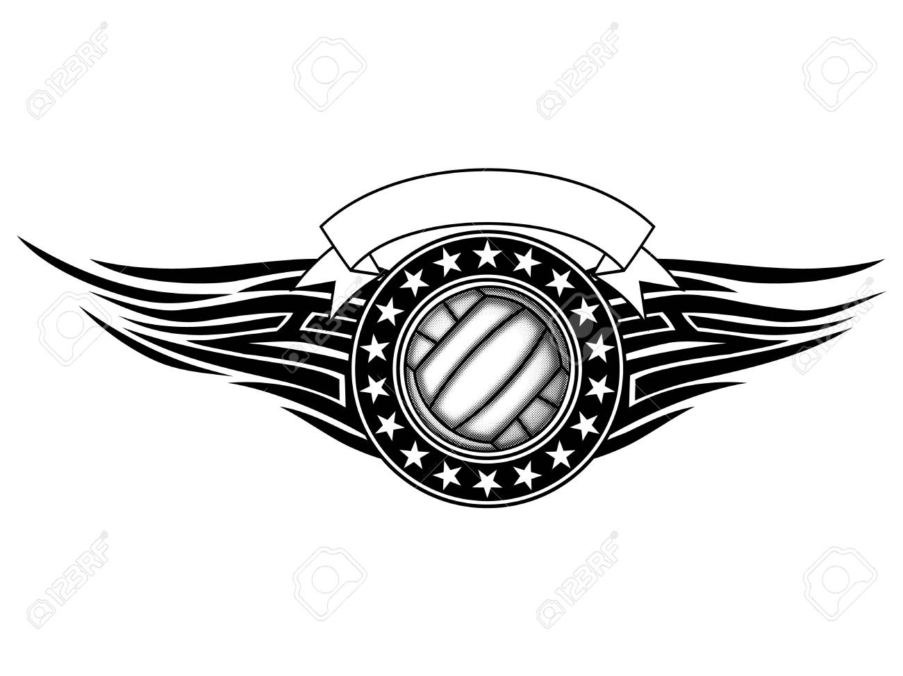 9d8d2602 Abstract vector illustration black and white volleyball ball and tribal  wings . Design for tattoo or