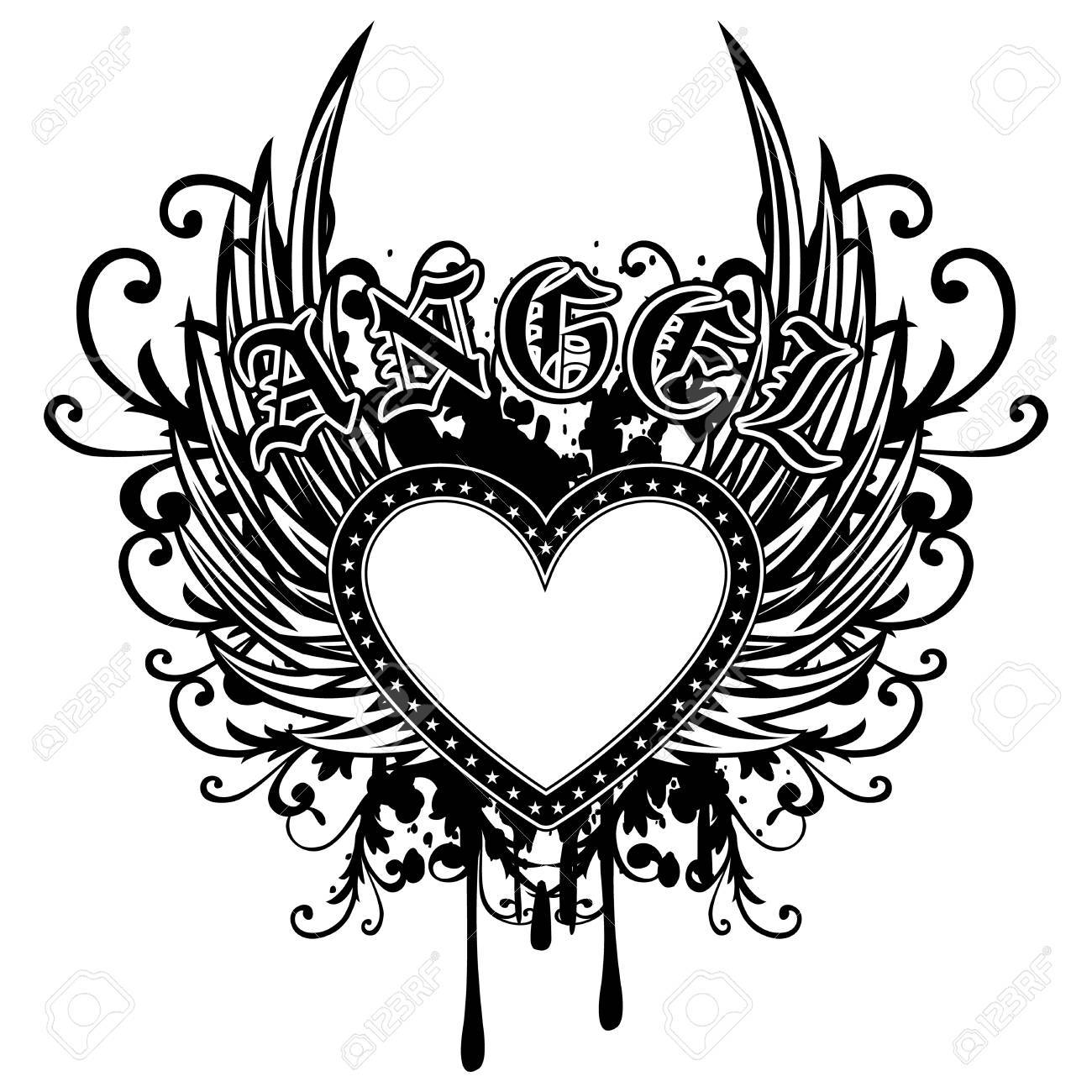 Image Coeur Noir Et Blanc abstract vector illustration frame coeur noir et blanc avec des