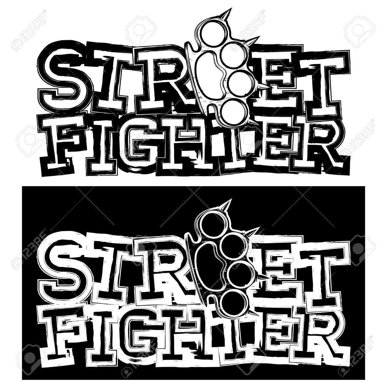 Inscription Street Fighter And Brass Knuckle For Tattoo Or T