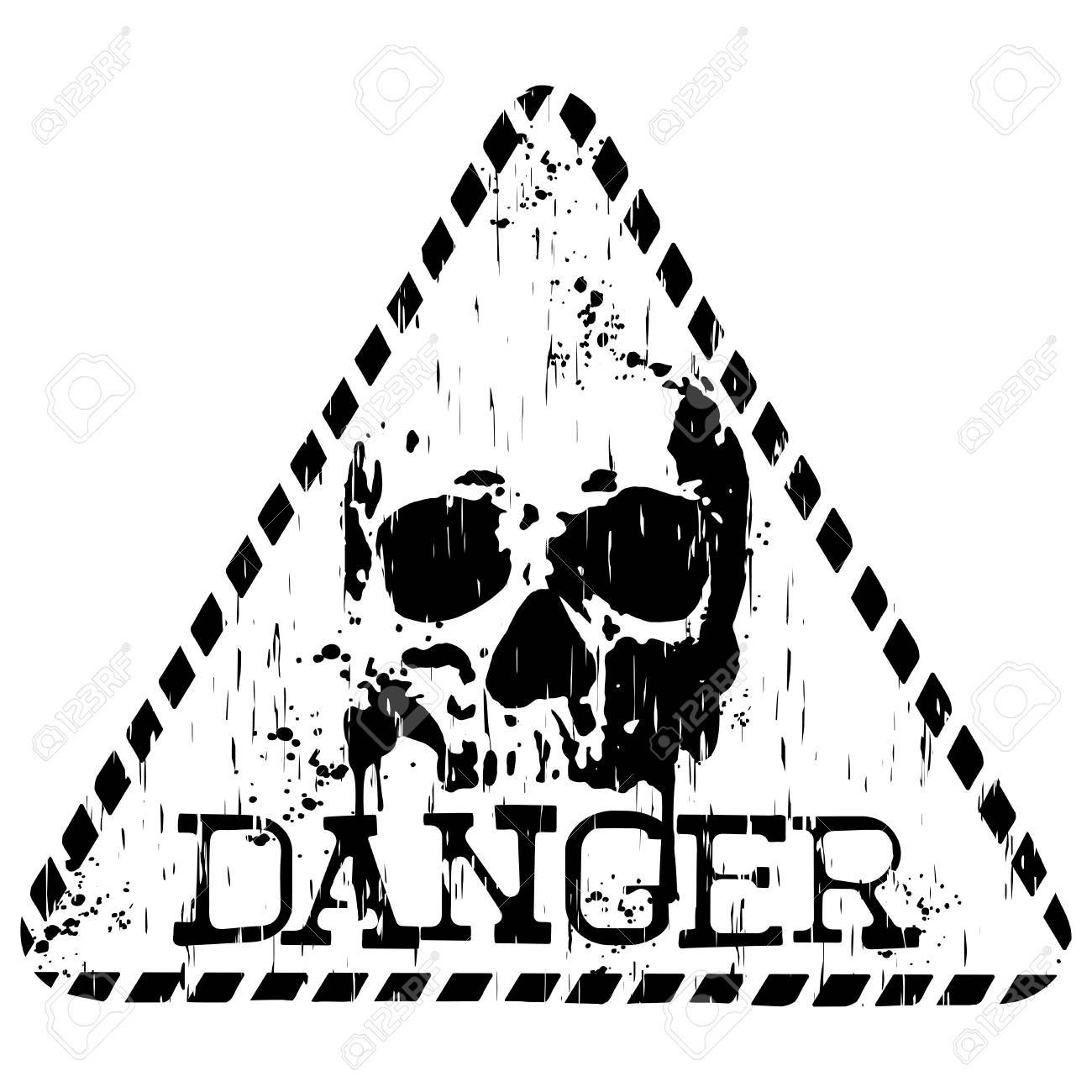 vector illustration grunge triangular symbol with letterind danger Radioactive Zombie Sign vector vector illustration grunge triangular symbol with letterind danger and abstract skull for t shirt design