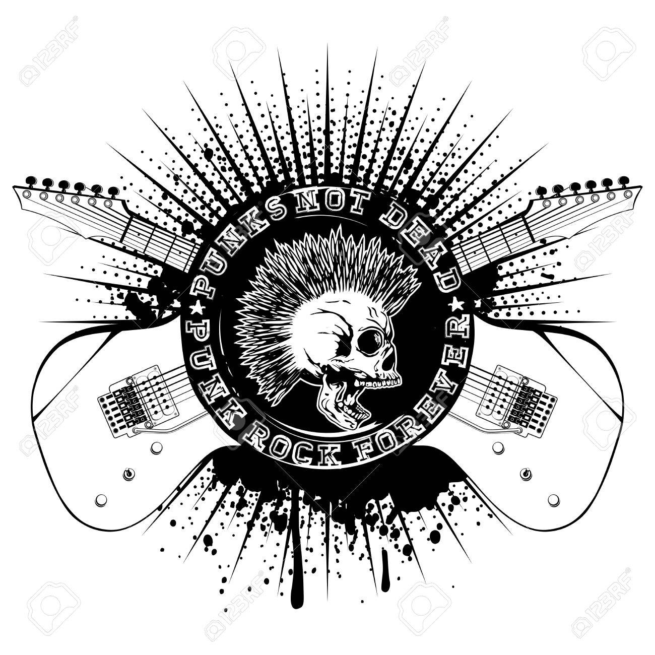 skull with mohawk and lettering punk not dead and punk rock forever