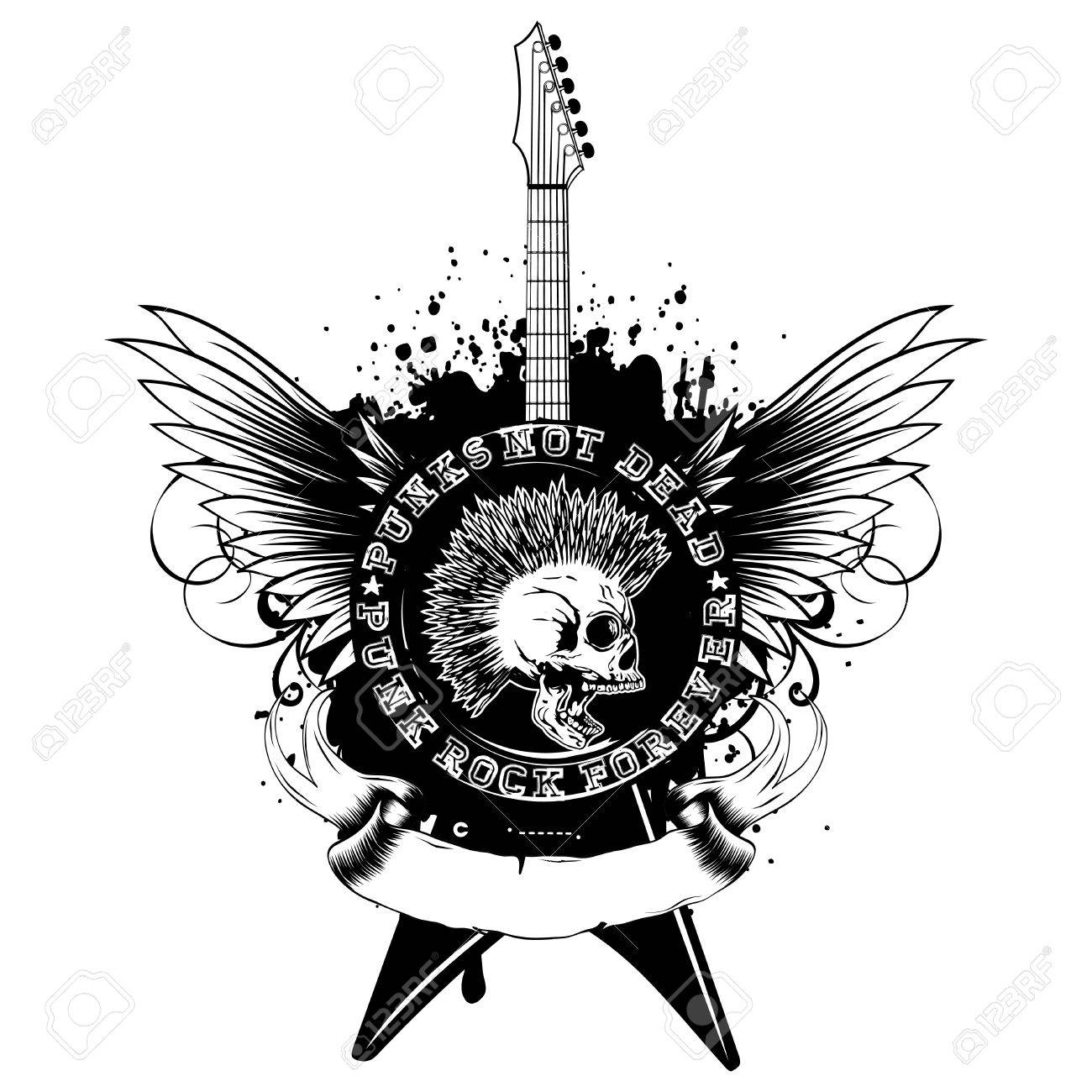 Vector Illustration Stamp And Guitar On Wings Grunge Background