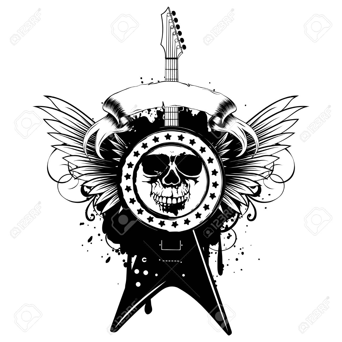 Vector Illustration Stamp Skull And Electric Guitar On Wings