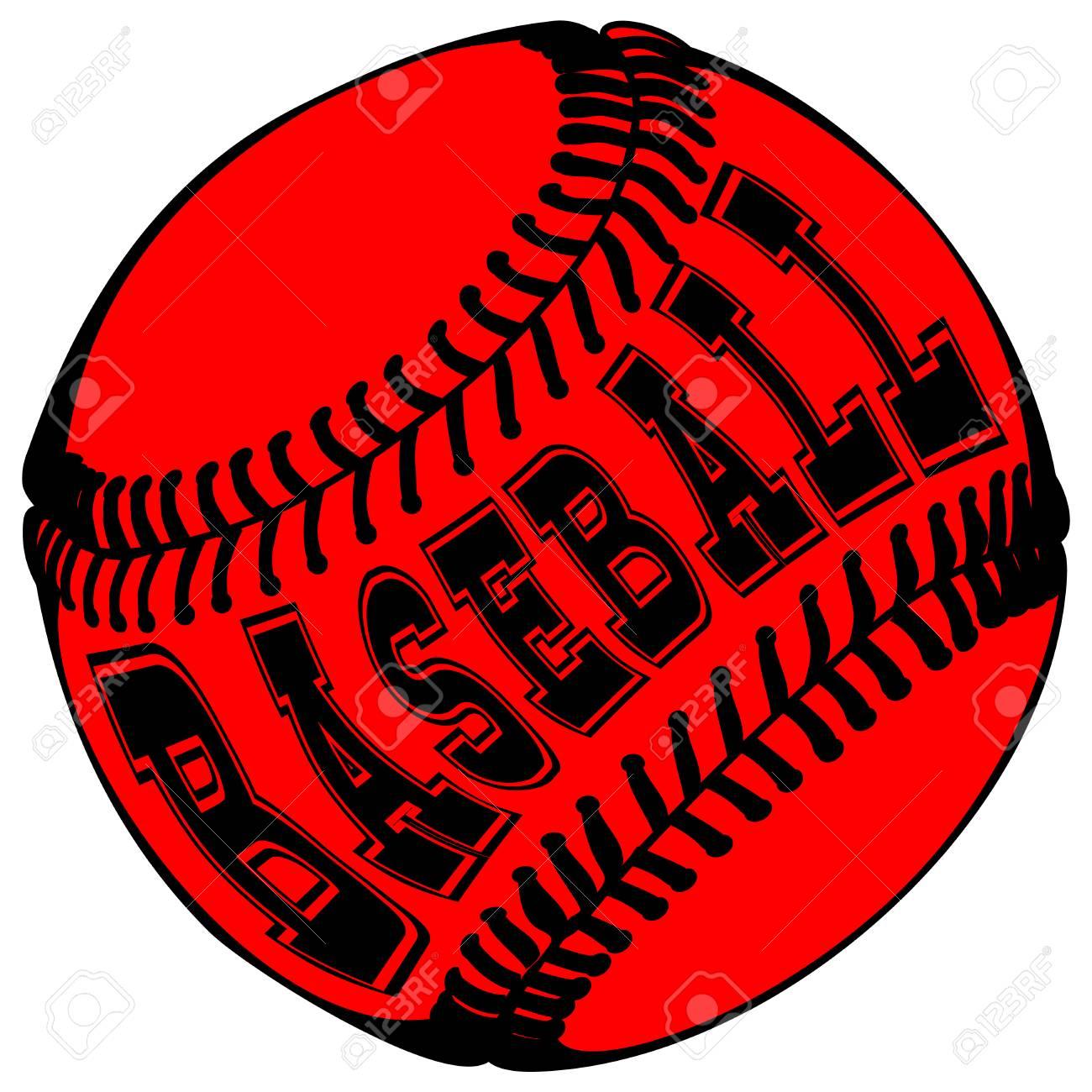 d8c5997c1795 Abstract vector illustration black and red baseball ball on white background.  Inscription baseball. Design