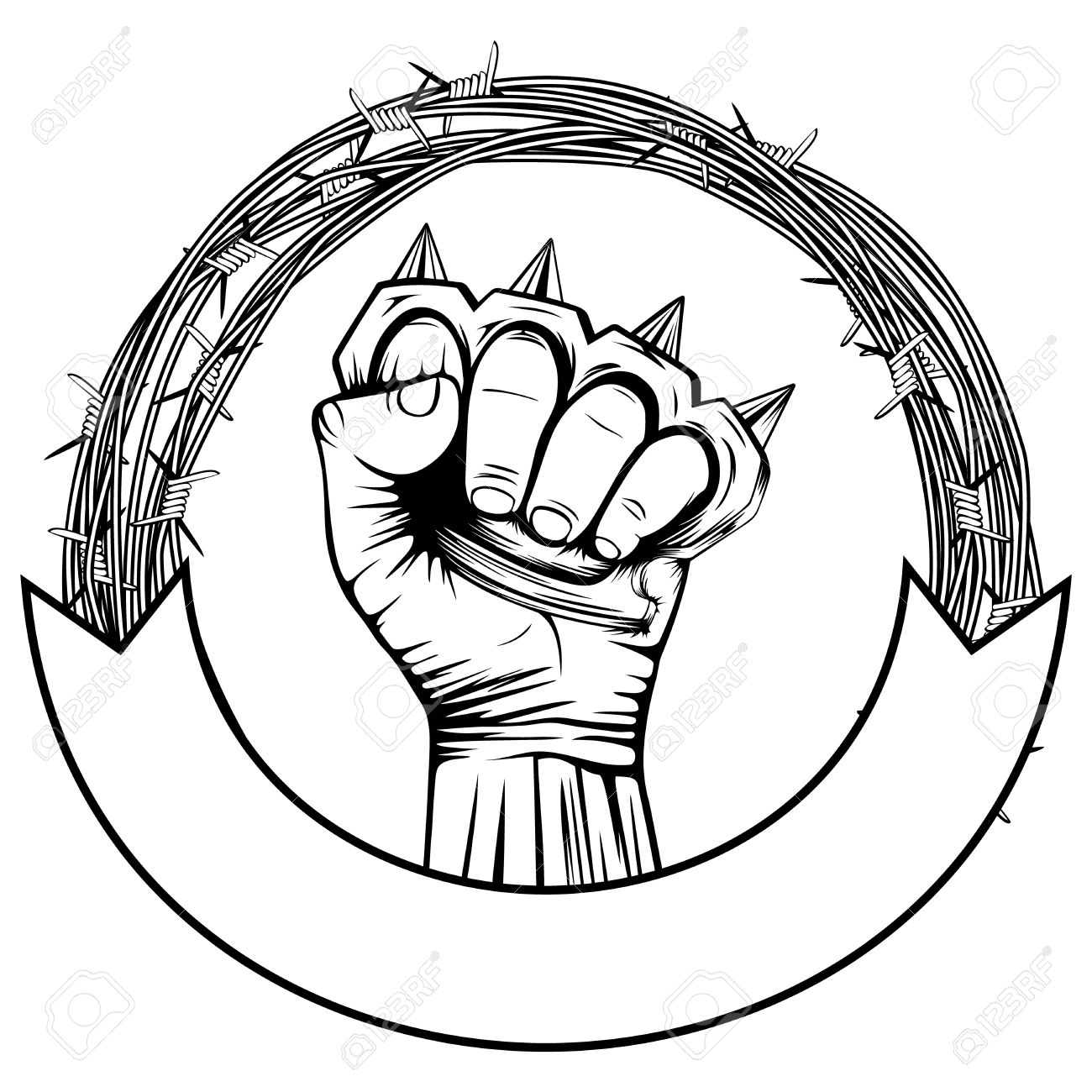 Vector Illustration Barbed Wire And Hand With Brass Knuckle ...