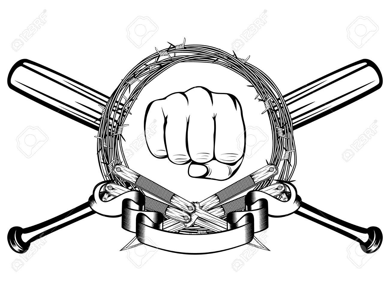 A Vector Illustration Two Crossed Daggers And Baseball Bats ...
