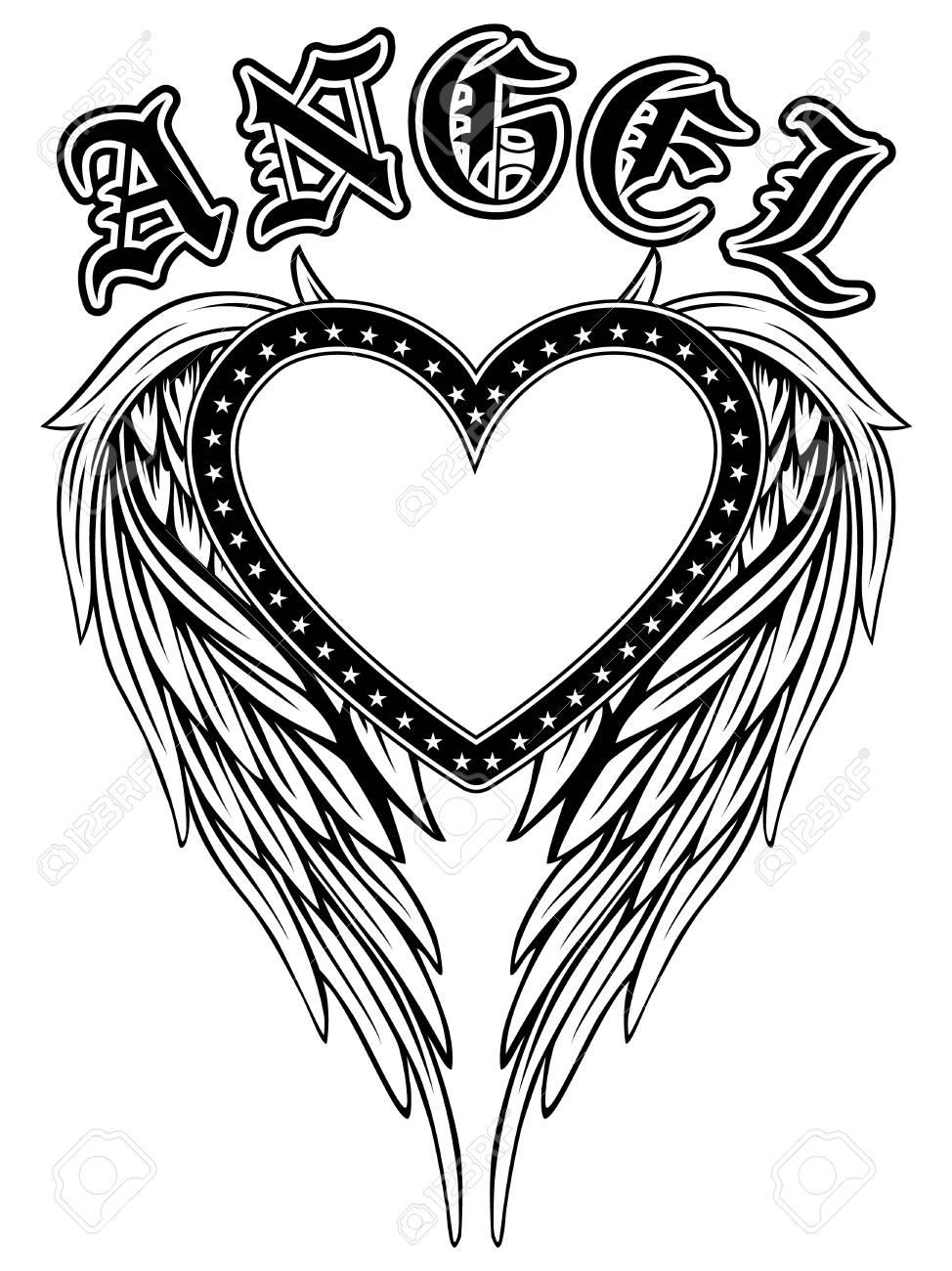 Resume Illustration Vectorielle Cadre Coeur Noir Et Blanc Avec Des