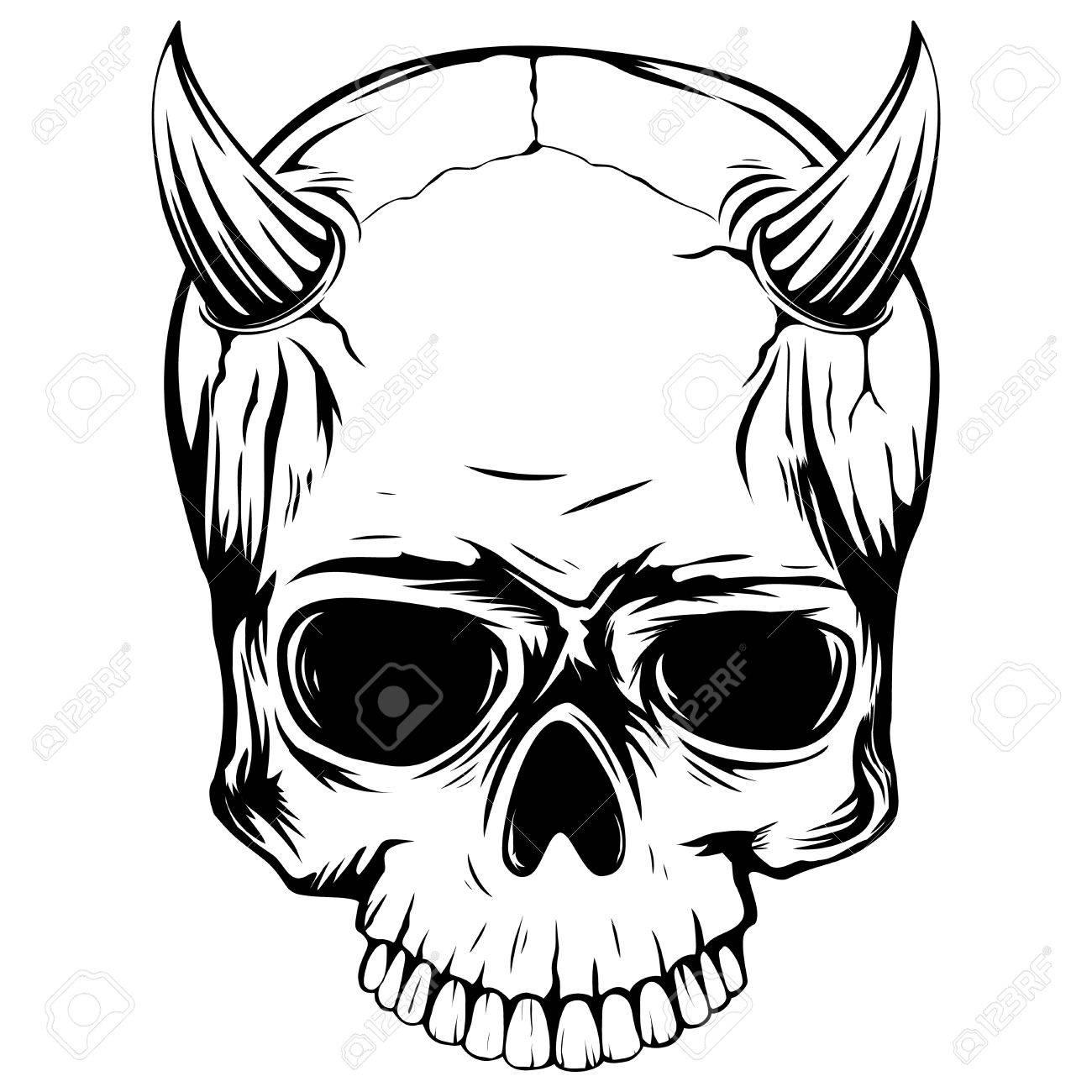 Ilustración Vectorial Abstracta Demonio Del Cráneo En Blanco Y Negro