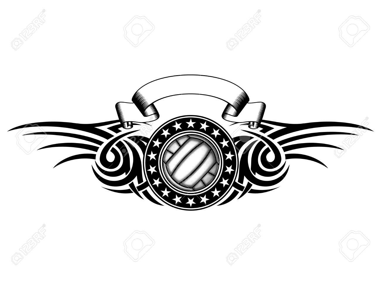 バレーボール イラスト 白黒