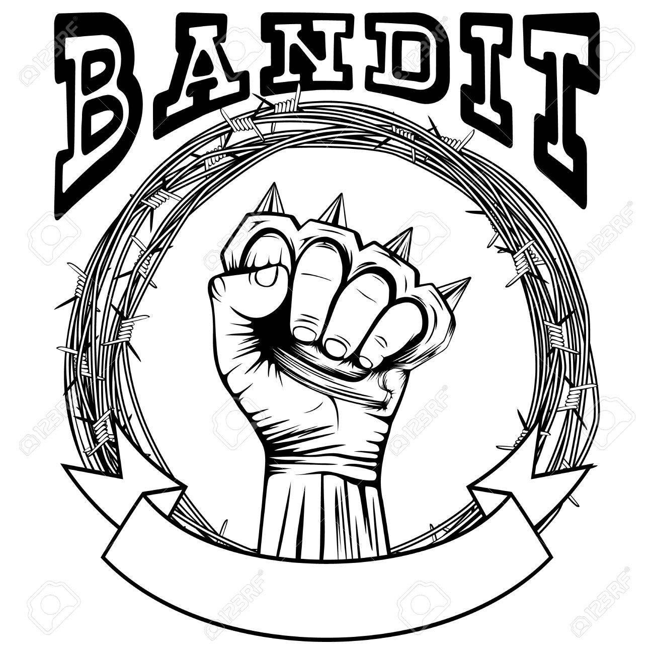 Vector Illustration Barbed Wire And Brass Knuckle. Inscription ...